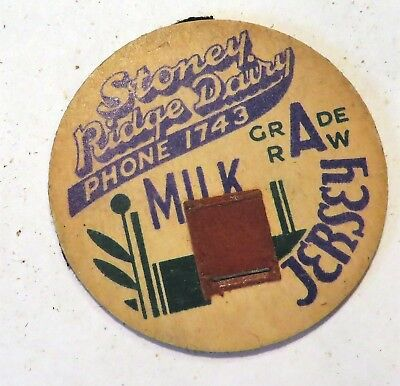 "Vintage Raw  Milk Cream Bottle Cap 1-5/8"" Stoney Ridge Dairy"