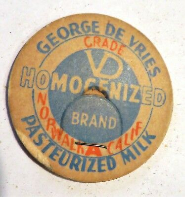 "Vintage Milk Dairy Bottle Cap 1-5/8"" George De Vries Norwalk California"