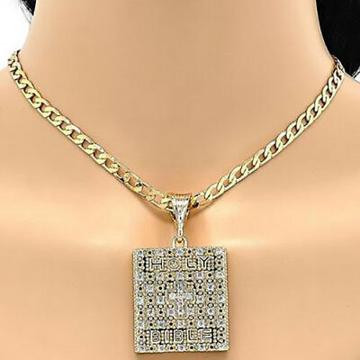 Beautiful Holy Bible Pendant Medal In 18K Gold Over Sterling Silver!!!