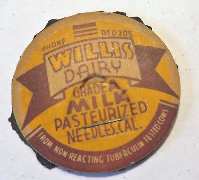 "Vintage Milk Cream Bottle Cap 1-5/8"" Willis Dairy TB Tested Phone Red 205"