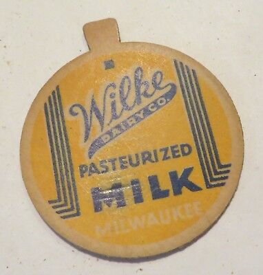 "Vintage Milk Cream Bottle Cap 1-5/8"" Wilke Dairy Company Milwaukee Wisconsin"