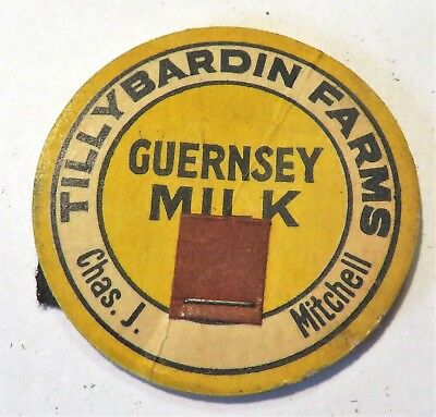 "Vintage Milk Cream Bottle Cap 1-5/8"" Tilly Bardin Farms Chas J. Mitchell Dairy"