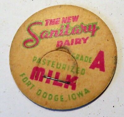 "Vintage Milk Cream Bottle Cap 1-5/8"" The New Sanitary Dairy Fort Dodge Iowa"