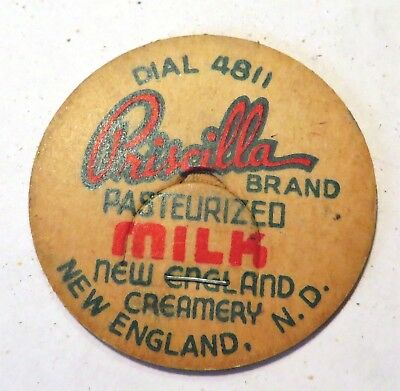 "Vintage Milk Cream Bottle Cap 1-5/8"" Priscilla Dairy New England North Dakota"