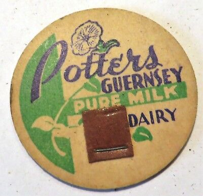 "Vintage Milk Cream Bottle Cap 1-5/8"" Potters Pure Milk Dairy"