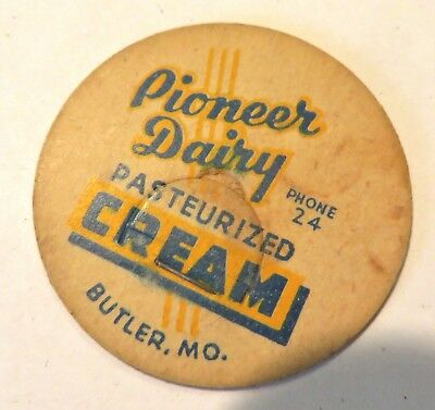 "Vintage Milk Cream Bottle Cap 1-5/8"" Pioneer Dairy Butler Missouri"