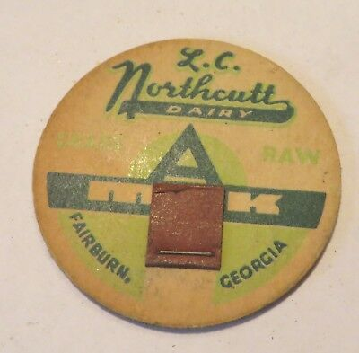 "Vintage Milk Cream Bottle Cap 1-5/8"" L. C.  Northcutt Dairy Fairburn Georgia"