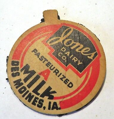 "Vintage Milk Cream Bottle Cap 1-5/8"" Jones Dairy Des Moines Iowa"