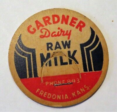 "Vintage Milk Cream Bottle Cap 1-5/8"" Garndner Dairy Freedonia Kansas"