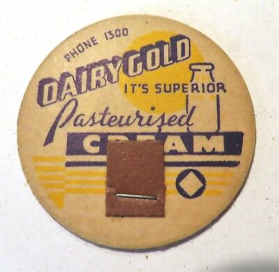 "Vintage Milk Cream Bottle Cap 1-5/8"" Dairygoild Dairy Gold"