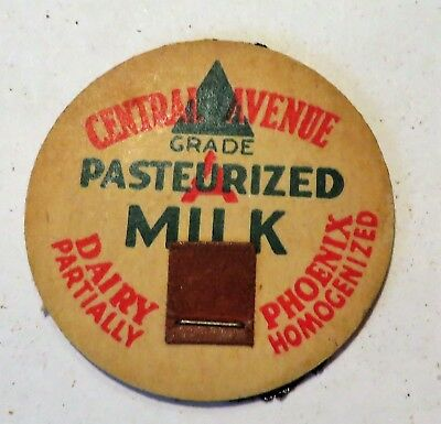 "Vintage Milk Cream Bottle Cap 1-5/8"" Central Avenue Dairy Phoenix Arizona"