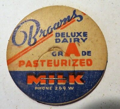 "Vintage Milk Cream Bottle Cap 1-5/8"" Brown's Deluxe Dairy"