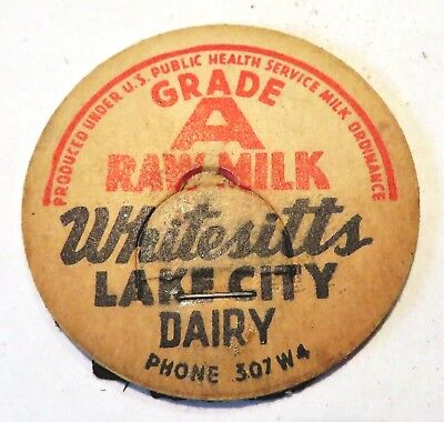 "Vintage Raw Milk Cream Bottle Cap 1-5/8"" Whitesitt's LakeCity Dairy"