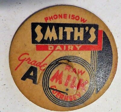 "Vintage Raw Milk Cream Bottle Cap 1-5/8"" Smiths Dairy"