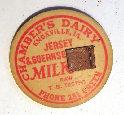 "Vintage Raw Milk  Bottle Cap 1-5/8"" Chamber's Dairy Knoxville Iowa TB Tested"