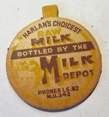 "Vintage Raw Milk   Dairy  Bottle Cap 1-5/8"" Harlans Choicest  Milk Depot"