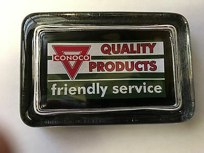 Conoco Oil Gas Station Logo Quality Products Sign Advertising Glass Paperweight