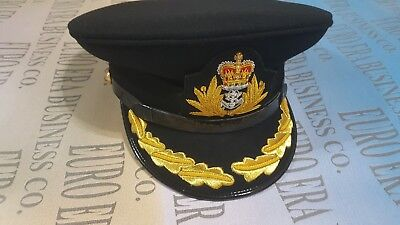 New WWll UK Royal Officer Cap, UK Royal Navy Officer Captain Hat In All Sizes