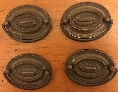 Set of 4 Antique Federal Hepplewhite Double Post Stamped Brass Oval Drawer Pulls