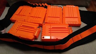 Lot of 6 NERF 6-Dart Magazine Cartridges & Official NERF Bandolier/Ammo Belt