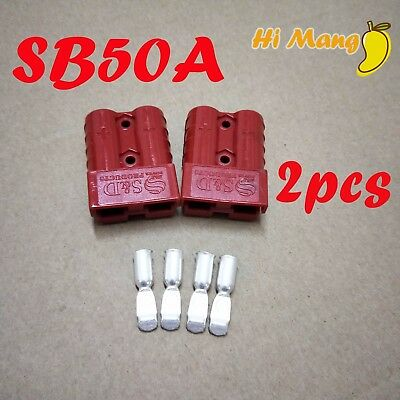 2PCS 50A Power Connector Plug SG50A SB50A Double Pole Connector Red Color