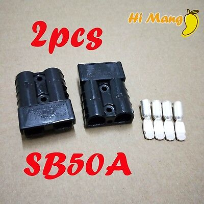2PCS Black 50A Power Connector Plug SG50A SB50A Double Pole DC Connector