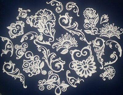 26 x PIECES ASSORTED APPLIQUE SUGAR Lace Pieces - Ready To Use & Edible