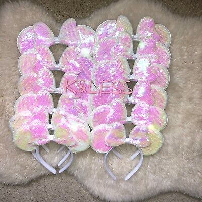 24PCS Minnie Mouse Ear Bow Hair Band Hifi Night Mickey Party Fancy Dresses Girl