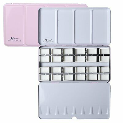 MEEDEN Watercolor Tin Box Palette Paint Case Pink Tin with 48 Half Pans
