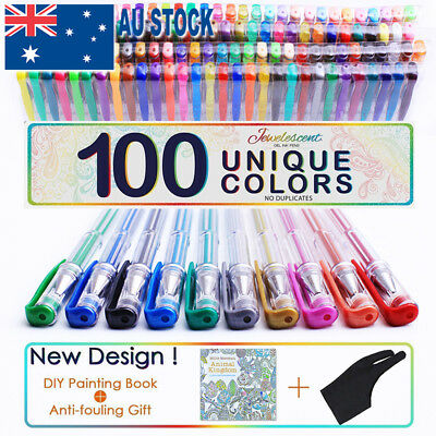 100pcs Professional Color Gel Pen Paint Book Craft Drawing Glitter Neon Metallic