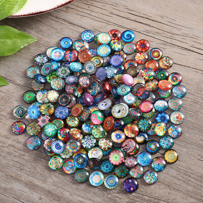 200pcs Round Mosaic Tiles Crafts DIY Glass Mosaic Supplies Jewelry Making Props