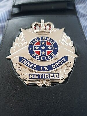RETIRED Victoria Police badge leather wallet Australia Victorian Australian