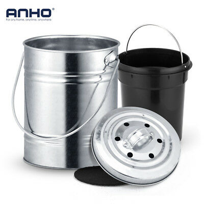 Compost Bin Kitchen Trash Can Outdoor Countertop 3L Charcoal Filter Bucket