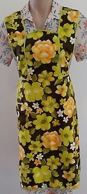 Vintage 70s TANIWHA Cotton YELLOW BROWN FLORAL Pinafore Kitchen APRON w Pockets
