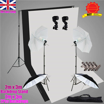 1250W Photo Continuous Lighting Umbrella Light Stand 2x3m Backdrop Support Set