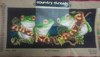 Country Threads Green Frogs Tapestry Canvas. As New Unstarted.