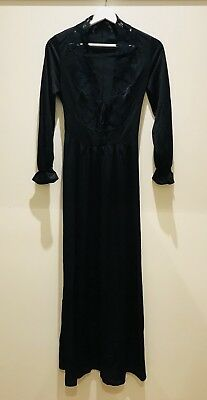 Black Silk And Lace Detail Vintage Gown Small 1960s