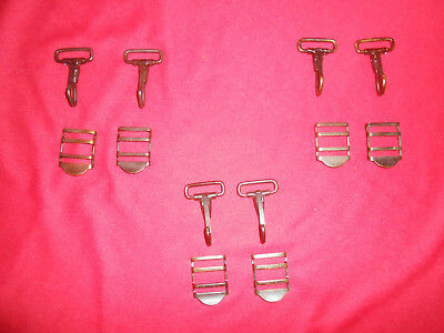 U.S.ARMY: WWII Era  6 HOOKS & 6 BUCKLES for COMBAT SUSPENDERS  Used