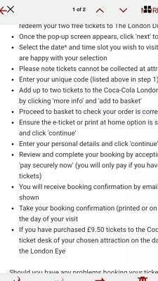 Shrek Adventure/london Dungeon Tickets X 2