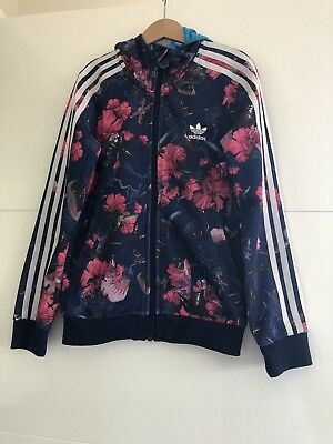 ADIDAS Girl's Floral Zip Up Hooded Jacket / Jumper - Size: 9-10 years