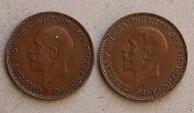 2 x UK George V Penny coins 1935 & 1936