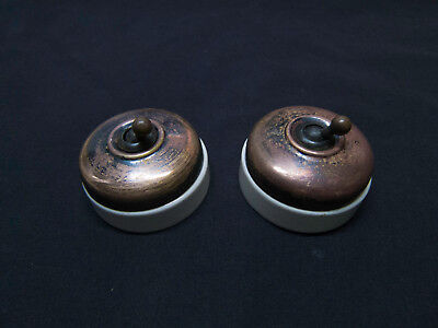 2x Vintage Victorian Brass & Porcelain Electric Light Switches