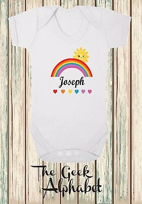 Rainbow Baby Personalised  Daughter Niece Rainbow Baby Clothes Name Added Free