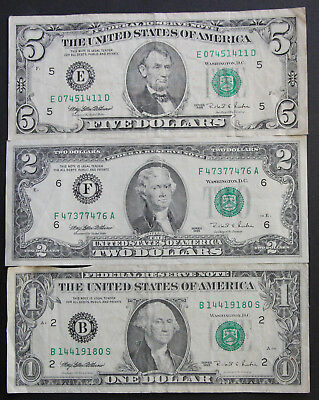 $1 $2 & $5 USA BANKNOTES ALL 1995 SERIES incl RARE TWO DOLLAR