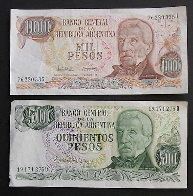 500 and 1000 PESOS NOTES CENTRAL BANK ARGENTINA