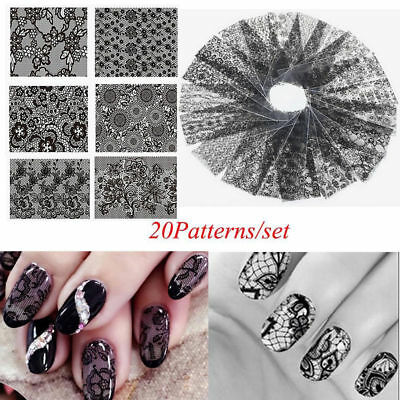 Lots 20Pcs Black Lace Flower Nails Transfer Foil Chic Nail Art Stickers Decals