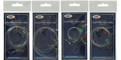 4 x NGT Sea Fishing Ready Made Rigs Bundle Includes Flapper and Clipped Styles