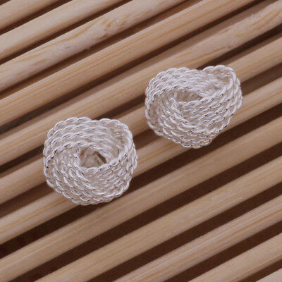 925 Sterling Silver Plated Large Twisted Knot Stud Earrings + Free Gift Bag.