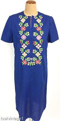 VINTAGE Mid century COBALT BLUE multi colourful EMBROIDERED shift dress 14