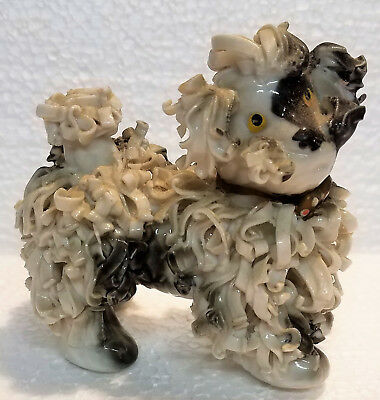 Vintage FRENCH POODLE SPAGHETTI White & Brown CERAMIC FIGURINE Japan. B3